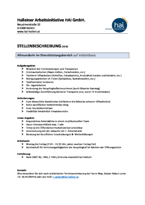 AllrounderIn im Dienstleistungsbereich VZ 2018