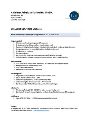 AllrounderIn im Dienstleistungsbereich VZ 2019